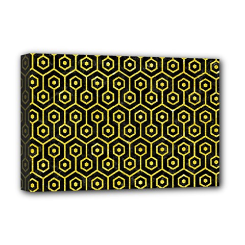 Hexagon1 Black Marble & Gold Glitter Deluxe Canvas 18  X 12   by trendistuff