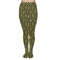 Hexagon1 Black Marble & Gold Glitter Women s Tights