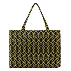 Hexagon1 Black Marble & Gold Glitter Medium Tote Bag by trendistuff