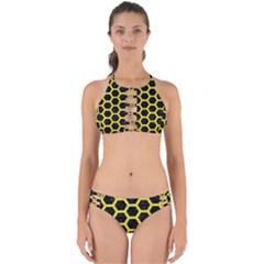 Hexagon2 Black Marble & Gold Glitter Perfectly Cut Out Bikini Set