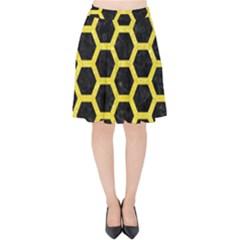 Hexagon2 Black Marble & Gold Glitter Velvet High Waist Skirt by trendistuff