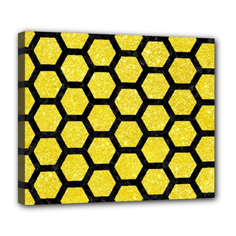 Hexagon2 Black Marble & Gold Glitter (r) Deluxe Canvas 24  X 20   by trendistuff