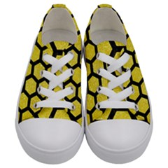 Hexagon2 Black Marble & Gold Glitter (r) Kids  Low Top Canvas Sneakers