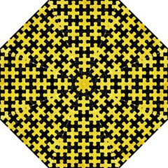 Puzzle1 Black Marble & Gold Glitter Golf Umbrellas by trendistuff