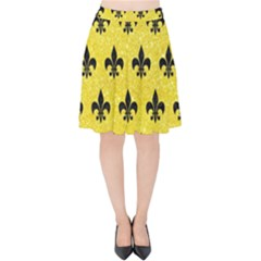Royal1 Black Marble & Gold Glitter Velvet High Waist Skirt by trendistuff