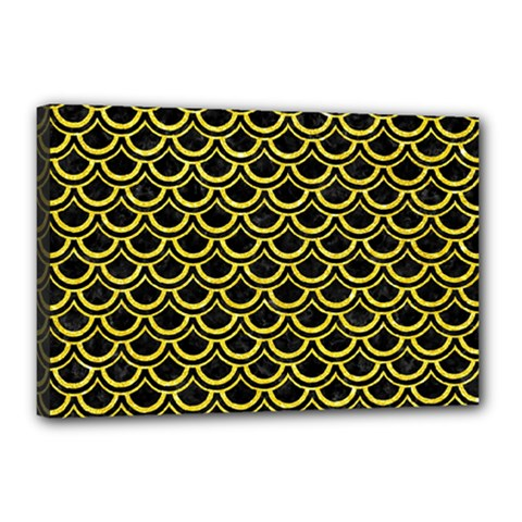 Scales2 Black Marble & Gold Glitterscales2 Black Marble & Gold Glitter Canvas 18  X 12  by trendistuff