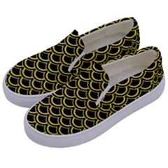 Scales2 Black Marble & Gold Glitterscales2 Black Marble & Gold Glitter Kids  Canvas Slip Ons by trendistuff