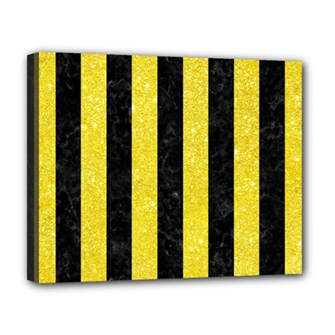 Stripes1 Black Marble & Gold Glitter Deluxe Canvas 20  X 16   by trendistuff