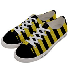 Stripes1 Black Marble & Gold Glitter Women s Low Top Canvas Sneakers by trendistuff