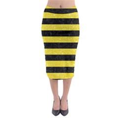 Stripes2 Black Marble & Gold Glitter Midi Pencil Skirt