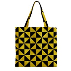 Triangle1 Black Marble & Gold Glitter Zipper Grocery Tote Bag by trendistuff