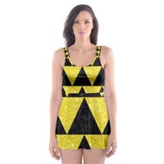 Triangle2 Black Marble & Gold Glitter Skater Dress Swimsuit