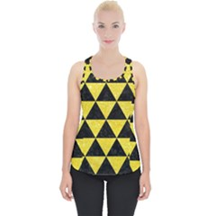 Triangle3 Black Marble & Gold Glitter Piece Up Tank Top