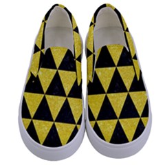 Triangle3 Black Marble & Gold Glitter Kids  Canvas Slip Ons