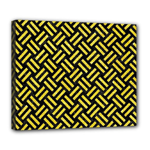Woven2 Black Marble & Gold Glitter Deluxe Canvas 24  X 20   by trendistuff