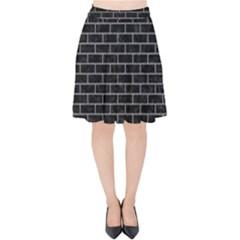 Brick1 Black Marble & Gray Colored Pencil Velvet High Waist Skirt by trendistuff