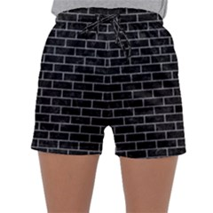 Brick1 Black Marble & Gray Colored Pencil Sleepwear Shorts