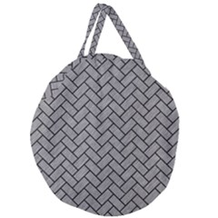 Brick2 Black Marble & Gray Colored Pencil (r) Giant Round Zipper Tote