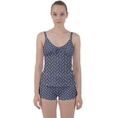 Brick2 Black Marble & Gray Colored Pencil (r) Tie Front Two Piece Tankini