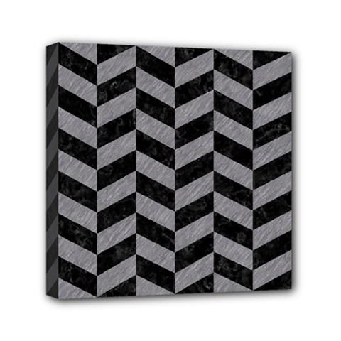 Chevron1 Black Marble & Gray Colored Pencil Mini Canvas 6  X 6  by trendistuff