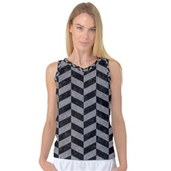 Chevron1 Black Marble & Gray Colored Pencil Women s Basketball Tank Top