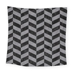 Chevron1 Black Marble & Gray Colored Pencil Square Tapestry (large) by trendistuff