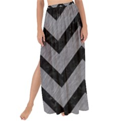 Chevron9 Black Marble & Gray Colored Pencil (r) Maxi Chiffon Tie Up Sarong