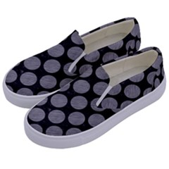Circles2 Black Marble & Gray Colored Pencil Kids  Canvas Slip Ons by trendistuff
