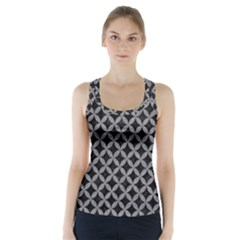 Circles3 Black Marble & Gray Colored Pencil Racer Back Sports Top