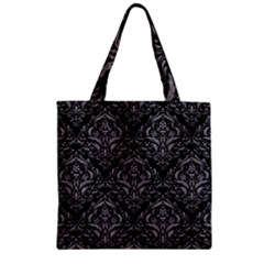 Damask1 Black Marble & Gray Colored Pencil Zipper Grocery Tote Bag by trendistuff