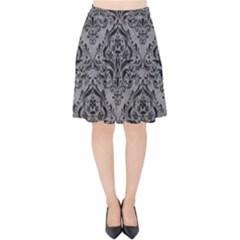 Damask1 Black Marble & Gray Colored Pencil (r) Velvet High Waist Skirt by trendistuff