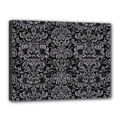 Damask2 Black Marble & Gray Colored Pencil Canvas 16  X 12  by trendistuff
