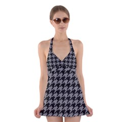Houndstooth1 Black Marble & Gray Colored Pencil Halter Swimsuit Dress