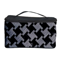 Houndstooth2 Black Marble & Gray Colored Pencil Cosmetic Storage Case by trendistuff