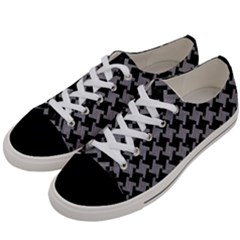Houndstooth2 Black Marble & Gray Colored Pencil Women s Low Top Canvas Sneakers by trendistuff