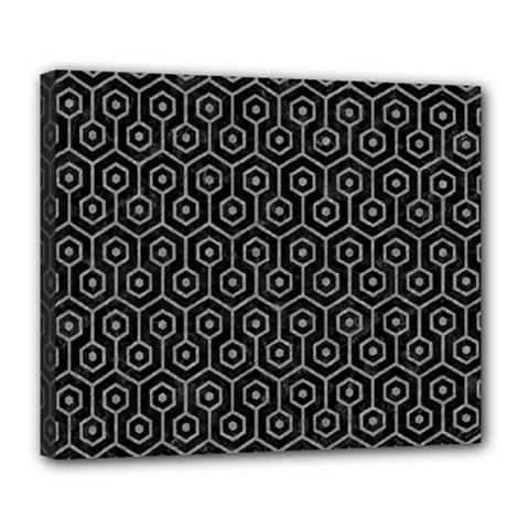 Hexagon1 Black Marble & Gray Colored Pencil Deluxe Canvas 24  X 20   by trendistuff