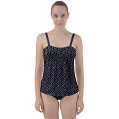 Hexagon1 Black Marble & Gray Colored Pencil Twist Front Tankini Set