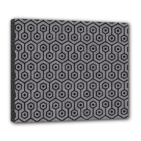 Hexagon1 Black Marble & Gray Colored Pencil (r) Deluxe Canvas 24  X 20   by trendistuff