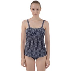 Hexagon1 Black Marble & Gray Colored Pencil (r) Twist Front Tankini Set