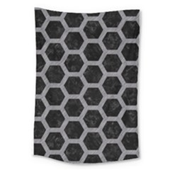 Hexagon2 Black Marble & Gray Colored Pencil Large Tapestry by trendistuff
