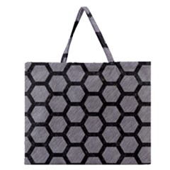 Hexagon2 Black Marble & Gray Colored Pencil (r) Zipper Large Tote Bag by trendistuff