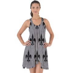 Royal1 Black Marble & Gray Colored Pencil Show Some Back Chiffon Dress by trendistuff