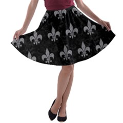 Royal1 Black Marble & Gray Colored Pencil (r) A Line Skater Skirt