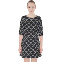 Scales1 Black Marble & Gray Colored Pencil Pocket Dress