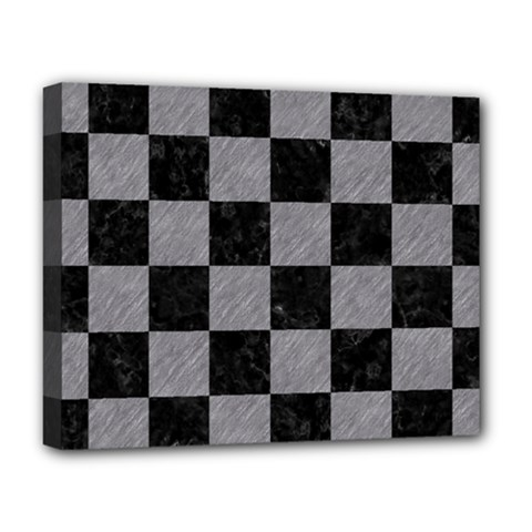 Square1 Black Marble & Gray Colored Pencil Deluxe Canvas 20  X 16   by trendistuff