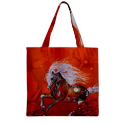 Steampunk, Wonderful Wild Steampunk Horse Grocery Tote Bag by FantasyWorld7