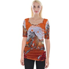 Steampunk, Wonderful Wild Steampunk Horse Wide Neckline Tee