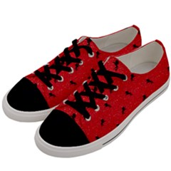 Unicorn Pattern Red Men s Low Top Canvas Sneakers by MoreColorsinLife