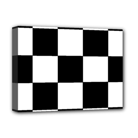 Grid Domino Bank And Black Deluxe Canvas 16  X 12