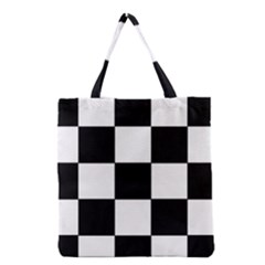 Grid Domino Bank And Black Grocery Tote Bag